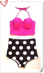 New vintage 2014 pin up taille haute rose, haut et en bas ensembles de bikini maillot de bain bikini