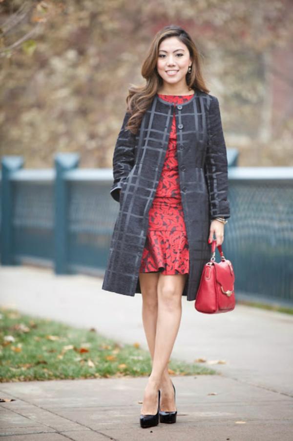 wearing fashion fluently dress coat bag shoes jewels