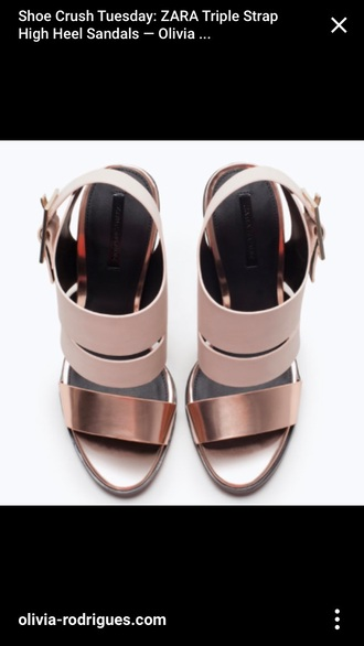 shoes zara triple straps metallic rose gold rose-gold strappy heels sandals