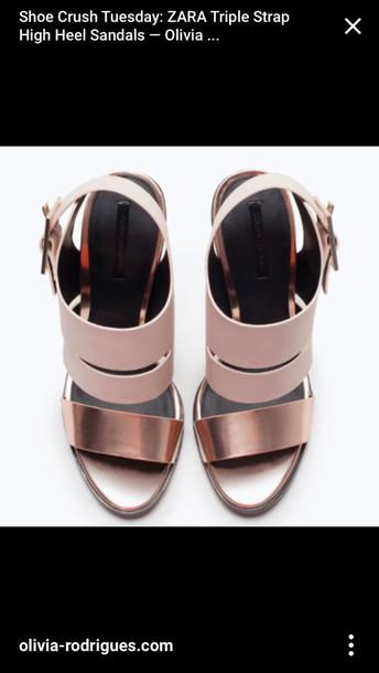808b0e02f shoes zara triple straps metallic rose gold rose-gold strappy heels sandals