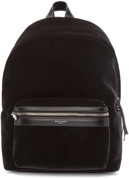 Saint Laurent mini backpack black velvet bag