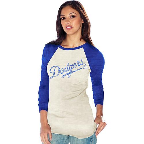 88d56c59 Los Angeles Dodgers Women's Reverse Print Burnout Raglan T-shirt ...