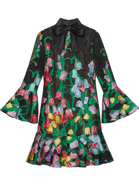 dress lace dress women jacquard lace floral silk