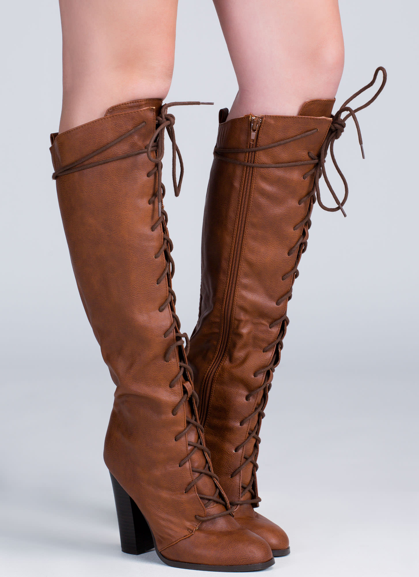 Chunky Laced Knee-High Boots BLACK TAUPE COGNAC - GoJane.com
