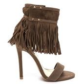 shoes,sandals,fringes,fringed sandals,taupe,taupe sandals,taupe heels,fringe shoes