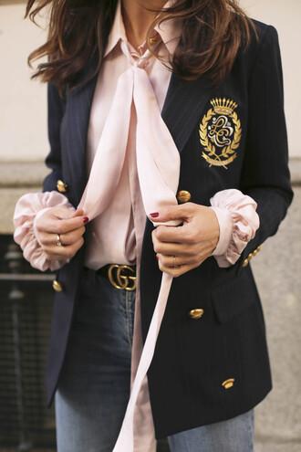 jacket tumblr blazer blue blazer military style shirt pink shirt silk shirt logo belt gucci gucci belt denim jeans blue jeans