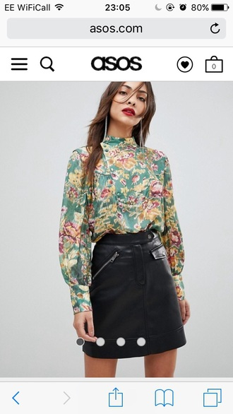 blouse mango silk floral green