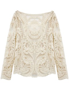 White crochet lace long sleeve top with mesh panel