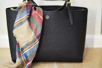 the double take girls blogger tote bag black bag tartan scarf