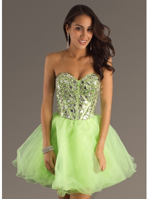 Buy Attractive A-line Organza Sweetheart Rhinestones Prom Dress    under 200-SinoAnt.com
