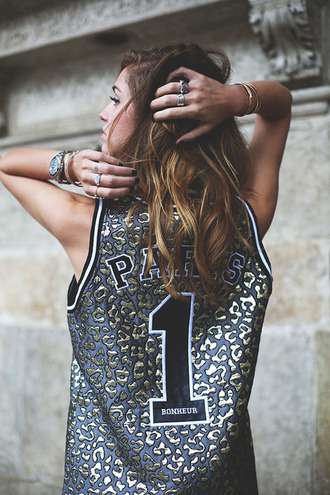 tank top panther leopard print paris gold blue dress shirt