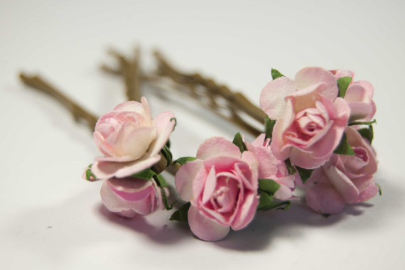 Blushing pink roses bobby pins set of
