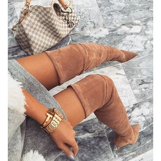 shoes brown boots over the knee boots tumblr pointed boots watch bracelets gold watch bag louis vuitton louis vuitton bag