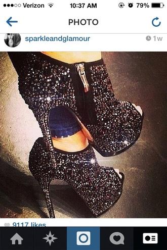 shoes sparkles boots high heels peep toe sexy cute pumps black pumps
