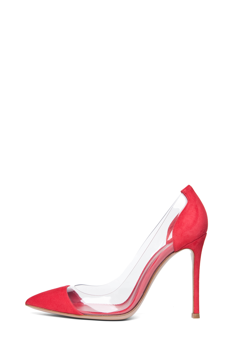 Gianvito Rossi|Suede & Plexy Pumps in Red