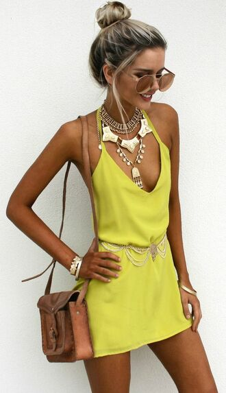 dress yellow slip dress slip dress yellow dress summer dress summer outfits necklace statement necklace bag brown bag bracelets sunglasses aviator sunglasses mirrored sunglasses bun beach party mini dress