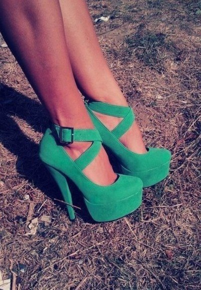 green shoes green high heels green suede