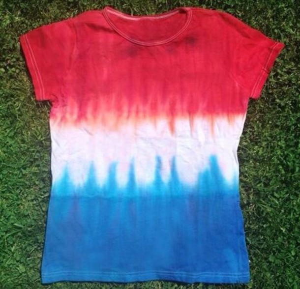 T shirt white red blue colorful tie dye dip dyed for How to dye a shirt red