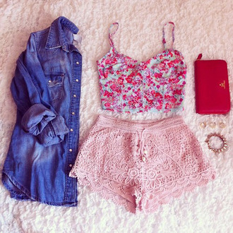 shorts pink lace shorts pink courset red courset crop tops lace shorts pink shorts denim shirt tank top outfit diy shirt jacket pants pink lace love flowers nice pretty pink pink by victorias secret bralette bustier floral flowered top lace shorts light pink crochet high waisted shorts cutie summer shorts