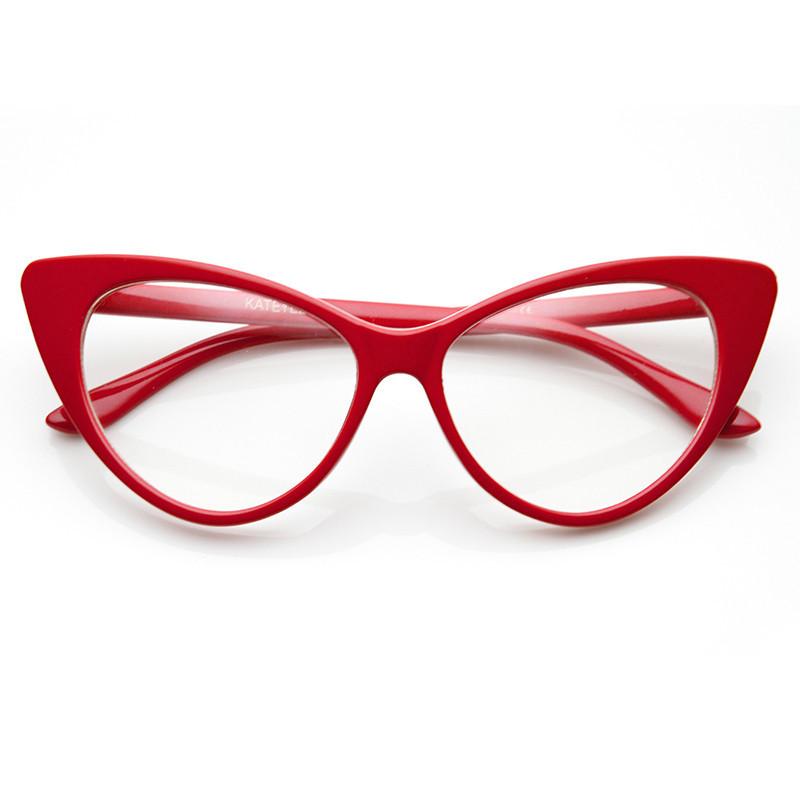 Twiggy cat eye retro clear frames in red – flyjane