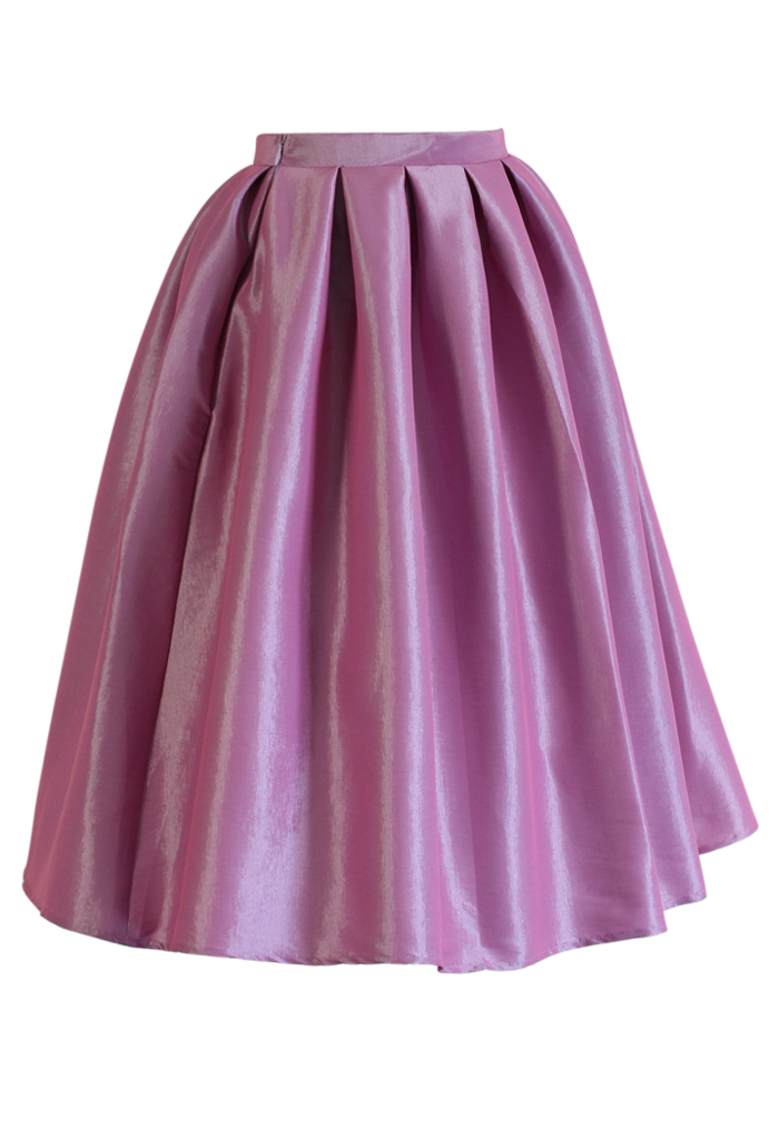 Lilac Pink A-line Midi Skirt - Retro, Indie and Unique Fashion
