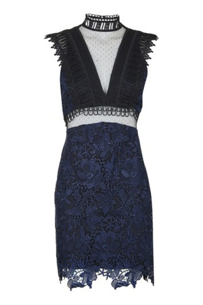 dress high high neck navy blue