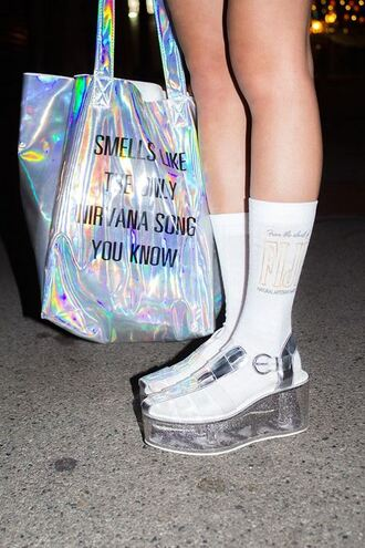 shoes white holographic holographic shoes tote bag socks silver platform shoes clear nirvana
