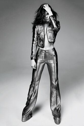 pants jacket selena gomez editorial silver metallic suit