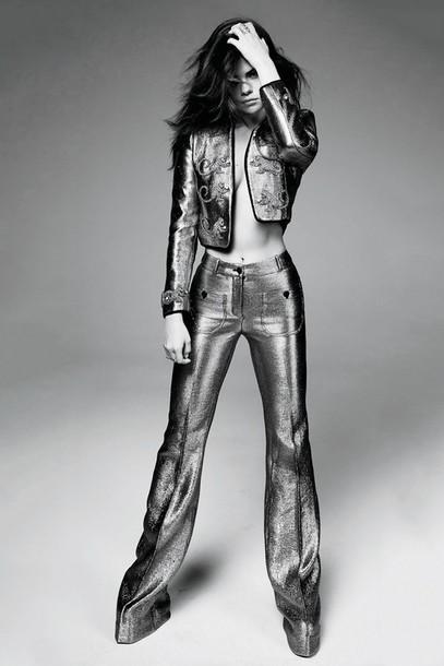 pants jacket selena gomez editorial silver metallic suit