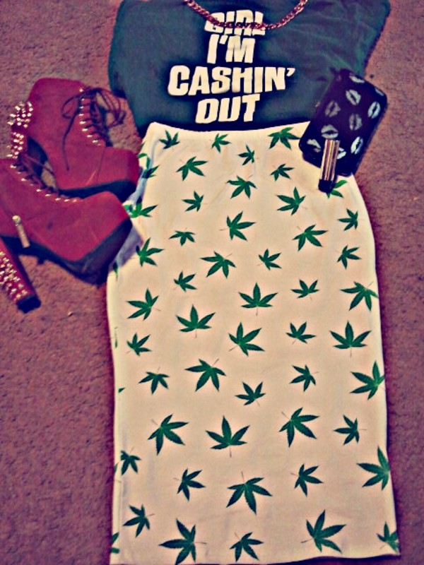 skirt crop tops high heels weed