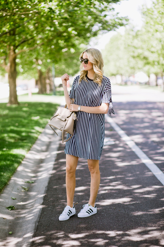 dress tumblr stripes striped dress mini dress short sleeve dress sneakers adidas adidas shoes adidas superstars low top sneakers bag shoes