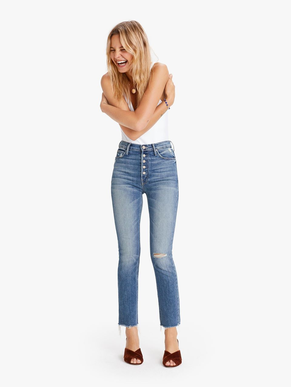MOTHER Pixie Dazzler Ankle Fray Jeans Popism