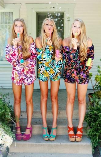 romper floral floral romper cute summer summer outfits summer romper hot bright