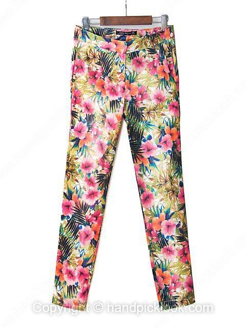 Red Floral Print Fashion Pant - HandpickLook.com