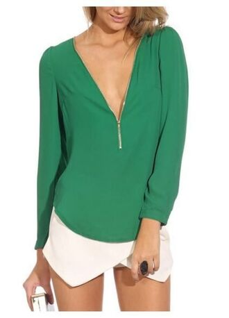 blouse long sleeves www.ustrendy.com green blouse green shirt green top green chiffon chiffon top chiffon blouse chiffon shirt front zip