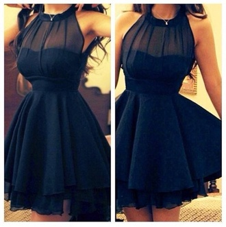 dress black chiffon prom party black dress navy sheer black prom dress princess dress style sexy dress romantic girly girl make-up