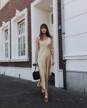 dress,maxi dress,flats,bag,silk dress,casual