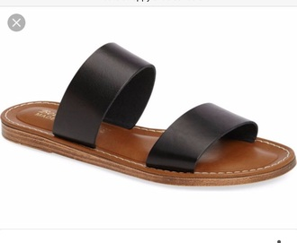 shoes black black slide sandle cute slide sandals cute flat sandals cute black sandals cute sandal