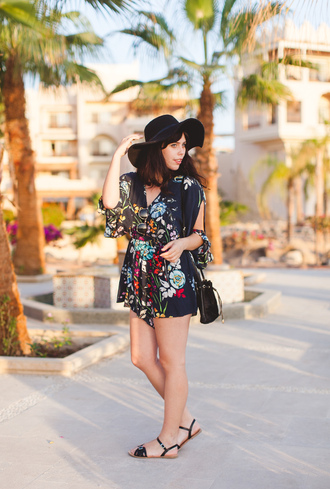 wish wish wish blogger bag felt hat sandals romper summer outfits