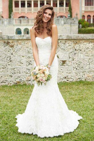 dress wedding dress bustier dress bustier wedding dress white dress long dress flowers wedding curly hair lace dress strapless dress sweetheart neckline