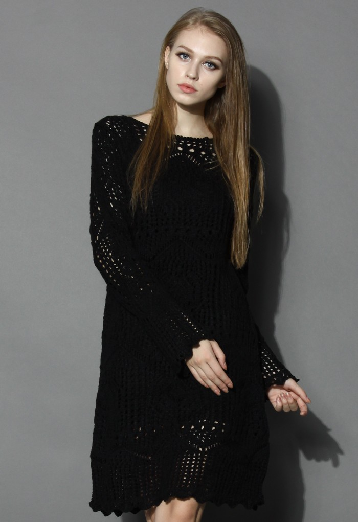 Classy Black Open-Gauge Knitted Dress - Retro, Indie and Unique Fashion
