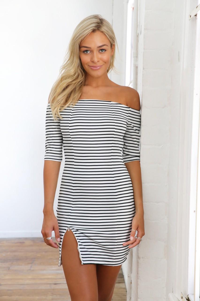 Black & white thin stripe off the shoulder dress