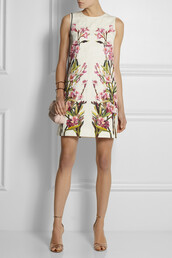dress,floral-print cotton-blend jacquard mini dress,dolce and gabbana