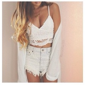 shirt,shorts,top,white bralette,lace bralette,cardigan,white cardigan,blouse,girly,grey,lace,white,crop tops,tank top,white crop tops,bustier,boho,kimono,bralette,high waisted,shredded,necklace,style,cute,lace top,denim shorts,boho chic,boho shirt,cute top,crop,cropped,lace crop top,white lace crop top,white lace,white tank top