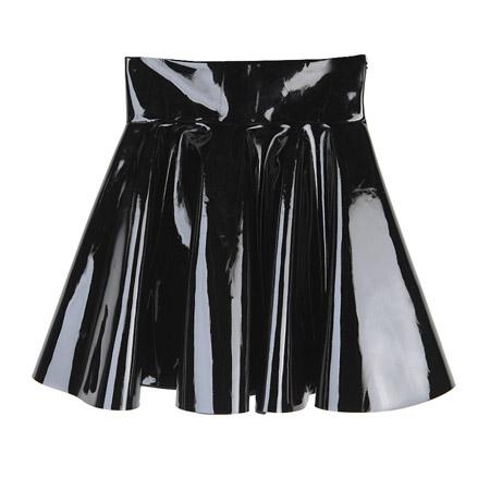 High Waist Glossy Flare Skirt