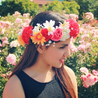 hair accessory flower crown floral crown red flower crown floral headband pink flower crown floral accessories coachella flowers flower headband floral pretty cute summer