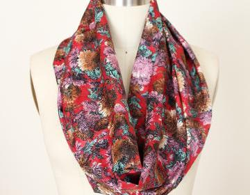 Infinity Scarf Boho Bohemian In Red Floral Silky Fabric on Luulla