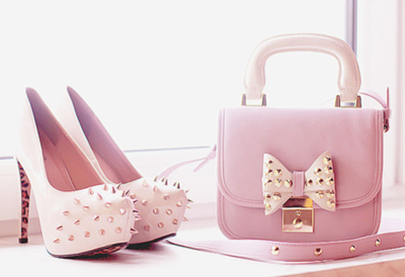 shoes spike high heels studs cute bag purses pastel shoes bag
