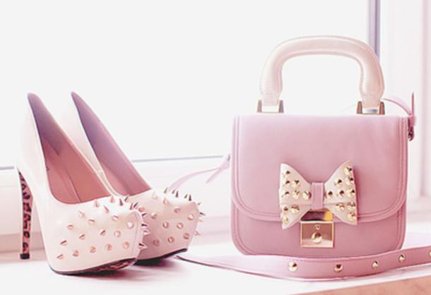 79ecc80d3f bag, shoes, purse, studs, pastel, cute, shoes bag - Wheretoget