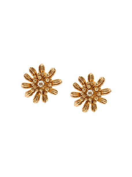 women earrings floral grey metallic jewels